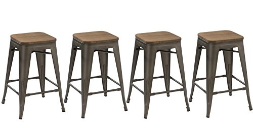 BTEXPERT 24-inch Industrial Stacking Tabouret Metal Vintage Antique Copper Rustic Distressed Dining Counter Bar Stool Modern - Handmade Wood top seat(Set of 4 Barstool)