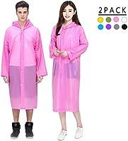 TuTuShop Regen Ponchos 2 Pack, Emergency Waterdichte Regenjas met Kappen en Mouwen, Herbruikbare EVA Regenkleding voor...