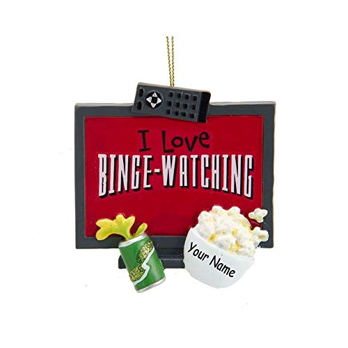 Personalized I Love Binge Watching TV Holiday Christmas Ornament with Custom Name