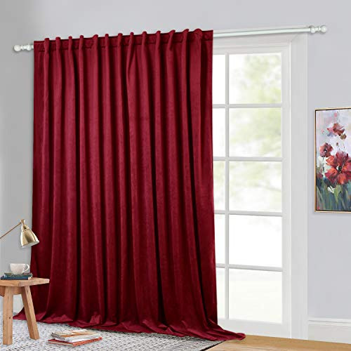 StangH Red Velvet Curtains Extra Wide - Room Darkening Privacy Theater Curtains, Holiday Decor Backdrop Curtains for Movie Room / Display Window / Church, Red, Wide 100 x Long 84 inches, 1 Panel