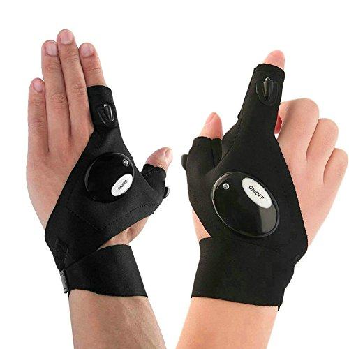 GuDoQi LED Taschenlampe Handschuhe, 1 Paar, Outdoor Angelhandschuhe, Arbeitshandschuhe mit Licht zum Reparieren, Arbeiten an dunklen Orten, Angeln, Camping und Wandern