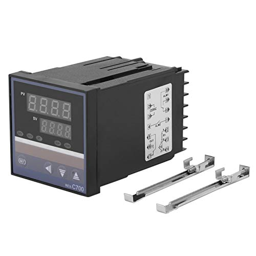 LANTRO JS - Controlador de temperatura 0-400 ℃ digital con estuche, módulo de termostato digital con pantalla LED REX-C700 para cervecería casera, fermentador, nevera, incubadora, invernadero