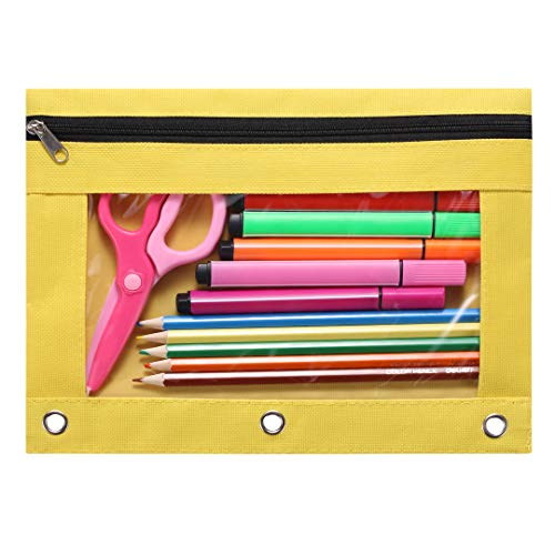 Acetiamin 3 Ring Binder Pencil Case 10 x 7 Zip Binder Pouch with Clear Window for School Office Yellow