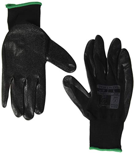 Portwest A320 Paire de gants de protection des mains en nylon Dexti Grip, Large, noir