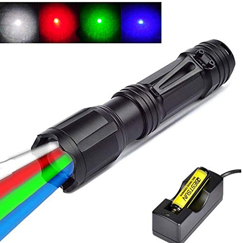 Multicolor Red Green Blue White Hunting Light Zoomable Handheld Tactical Flashlight 4 Color in 1 Multifunctional High Power RGBW LED Flashlights for Night Vision Fishing Astronomy (Battery Included)
