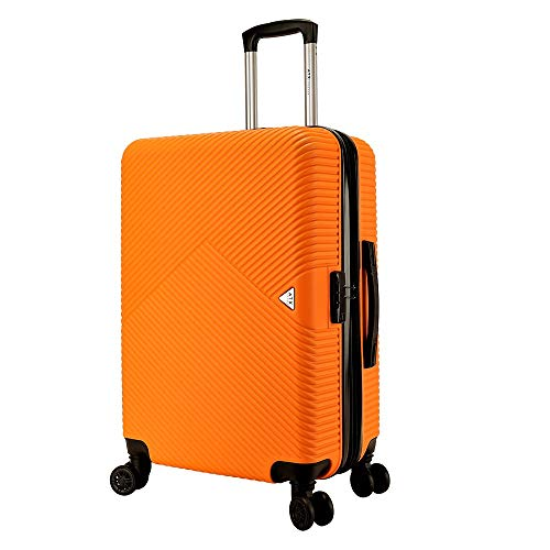 ATX Luggage 21'/55cm Lightweight Durable Hardshell ABS CarryOn Cabin Hand Luggage Suitcases Travel Bag with 8 Wheels & Built-in Lock for Ryanair, EasyJet, BA (21' Carry-on, Orange)