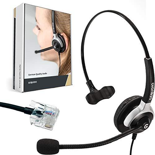 GEQUDIO Headset geeignet für Unify ® OpenStage 30 40 60 80 und OpenScape Serie Telefon - inklusive RJ Kabel - Kopfhörer & Mikrofon mit Ersatz Polster - 60g leicht
