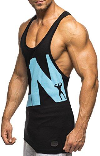 Leif Nelson Gym Herren Stringer T-Shirt für Sport Fitness ohne Ärmel Männer Bodybuilder Trainingsshirt Top ärmellos Sportshirt - Bekleidung für Bodybuilding Training LN20150496 Schwarz-Blau Large