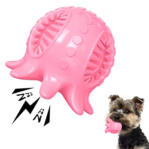 Dog Toy Ball Tooth Cleaning Octopus Shape Jolly Ball for Dogs Chew Squeaky Toys Treat Food Dispensing Ball for Small/Medium Dogs Puzzle Interactive Toy Ball for Puppy (Pink)