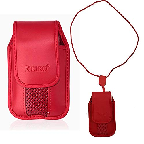Around The Neck Red Leather Case with Pinch Clip for ZTE z432 Phone
