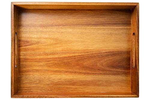 DecoVibe Acacia Wood Serving Tray with Handles - Rustic Wooden Tray for Living Room - Decorative Ottoman Wood Tray - 16 x 12 x 2 Large Food Trays for Ottomans Coffee Table Breakfast Bed Couch