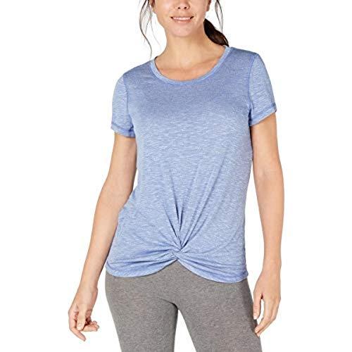Ideology Womens Knot-Front Active Wear T-Shirt Blue M