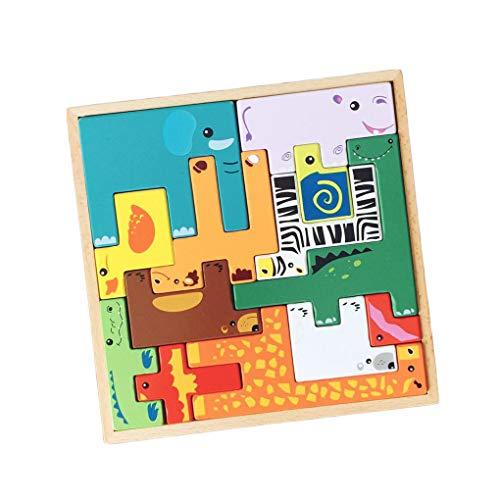 Floridivy De baby Houten Brain Teaser Jigsaw Cartoon Animals Block Toys Game Kids Kinderen Early Educatief speelgoed