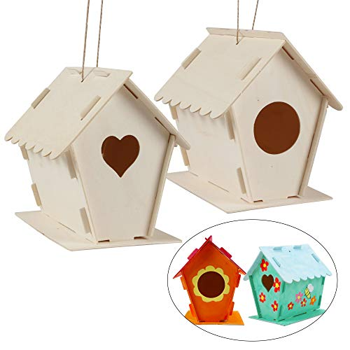 2 Pack DIY Bird House Kit Wooden Birdhouse with Hanging Rope and Painting for Kids DIY Crafts