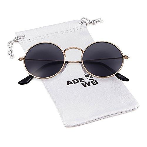 ADEWU Runde Sonnenbrille Vintage Street Style Brillen mit Dünnen Metallrand für Herren Damen