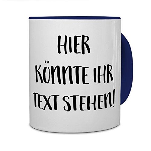 printplanet® - Tasse mit eigenem Text Bedrucken Lassen - Kaffeebecher mit Wunschtext oder Spruch Personalisieren - Becher Blau