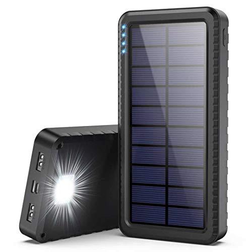 Dyw Batterie Externe Solaire 26800mAh avec Entrée de Type C, Chargeur Solaire avec LED d'urgence conçue pour Les...