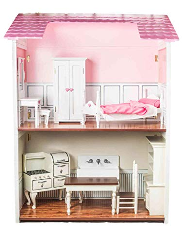 The Queen's Treasures Beautiful Quality 18 Inch 2 Story Doll House Compatible with American Girl Dolls, Furniture and Accessories. Easily Folds for Storage and Can Be Used as A Bookcase Later!