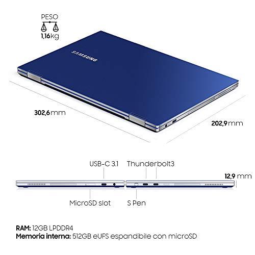 "Samsung Galaxy Book Flex, Portatile Wi-Fi 6 Windows | 10 Home, Display Touch Screen 13.3"" FHD QLED, Batteria 69.7Wh, RAM 12GB, Memoria 512 GB UFS, Lettore Impronte Digitali, Blue, [Versione Italiana]"
