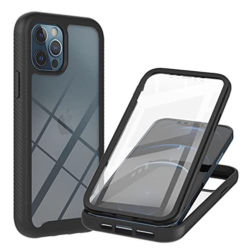 TYWZ Outdoor Hülle für iPhone 13 Pro,360 Grad Schutzhülle Handyhülle Bumper Case Cover mit Integriertem Displayschutz-Schwarz
