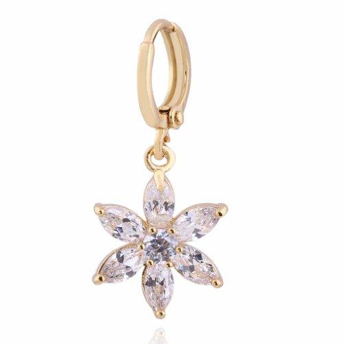 Flor con Encanto Yazilind Diseño 14K Gold Filled Inlay Borrar los pendientes de gota Circonita cuelgan de la Mujer