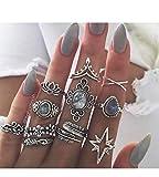 Simsly - Set di 10 anelli a forma di piuma vintage per donne e ragazze