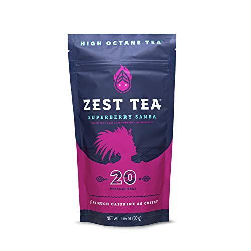 Zest Tea Energy Hot Tea, High Caffeine Blend Natural & Healthy Coffee Substitute, Perfect for Keto, 20 servings (135mg Caffeine each), Compostable Teabags (No Plastic), Superberry Samba Green Tea