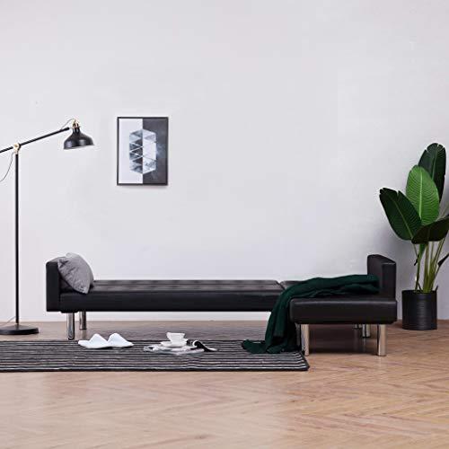 UnfadeMemory Sofa Cama de Salon en Forma de L,Decoración de Hogar,Diseño Moderno,Modo de Sofá con 2 Posiciones Ajustables,Estructura de Madera,Tapicería de Cuero Sintético (Negro)
