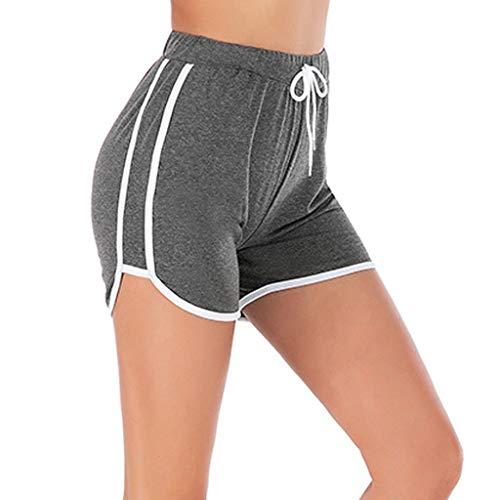 ITISME Donna Pantaloncini da Yoga a Vita Alta Fitness Slim Pantaloncini Sportivi Basic Classico Tinta Unita da Corsa Pantaloni Corti con Coulisse Estivi Eleganti Moda Shorts