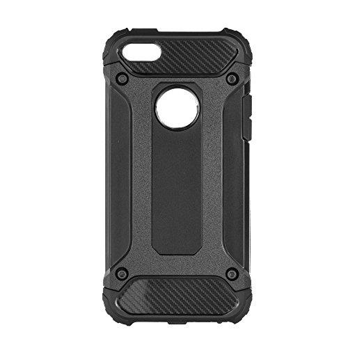 Forcell Armor - Custodia Protettiva Resistente agli Urti Ibrida a Doppio Strato per Apple iPhone 5 / 5S / SE - Nero