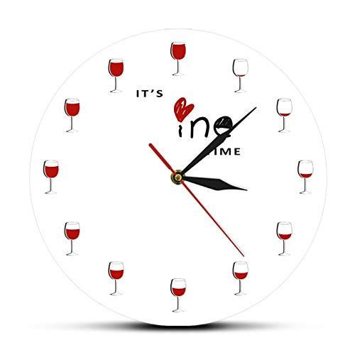 Reloj de Pared Es Hora del Vino Alcohol Copa de Vino Reloj Decorativo de Vino Tinto Reloj Reloj de Licor Restaurante Bebedor de Vino Regalo de Amante