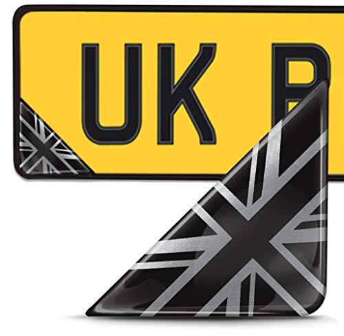 Biomar Labs 2 x 3D Pegatina Adhesivos Resinados para Placa de Matriculación Personalizadas Bandera de Reino Unido, Gran Bretaña UK para Coche Moto Remolque F 141