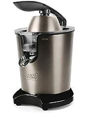 BLACK+DECKER BXCJ350E - Presse agrumes électrique levier professionnel 350W, Inox, moteur à courant alternatif, 650ml, 2 cônes pour tous les agrumes, filtre en inox et filtre régulateur de pulpe