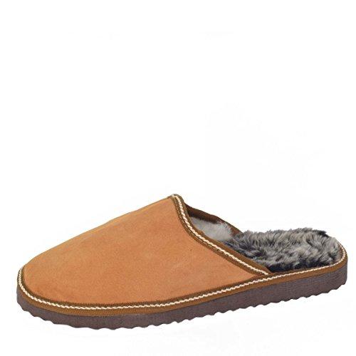 Sonia Originelli Herrenpantoffel Schuhe Schaf Lammfell EVA Sohle Echt Leder Farbe Beige, Größe 43