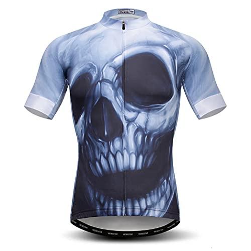 Hotlion Hombres Ciclismo Jersey manga corta cráneo bicicleta camisas transpirable Bicicletas ropa Tops CF01, Cf0088, S