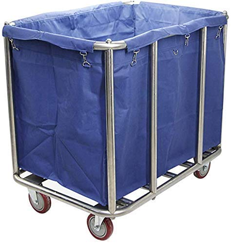 Dljyy Cart, Medical Cart, Eetwagen, Recoger, Inductive Rollwäsche Collector Trolley op wiel, Blue Heavy Duty Hotel Wasmachine, Sorter Wagen met wasbare zakken, 90 × 65 × 82 cm, 8 tubes
