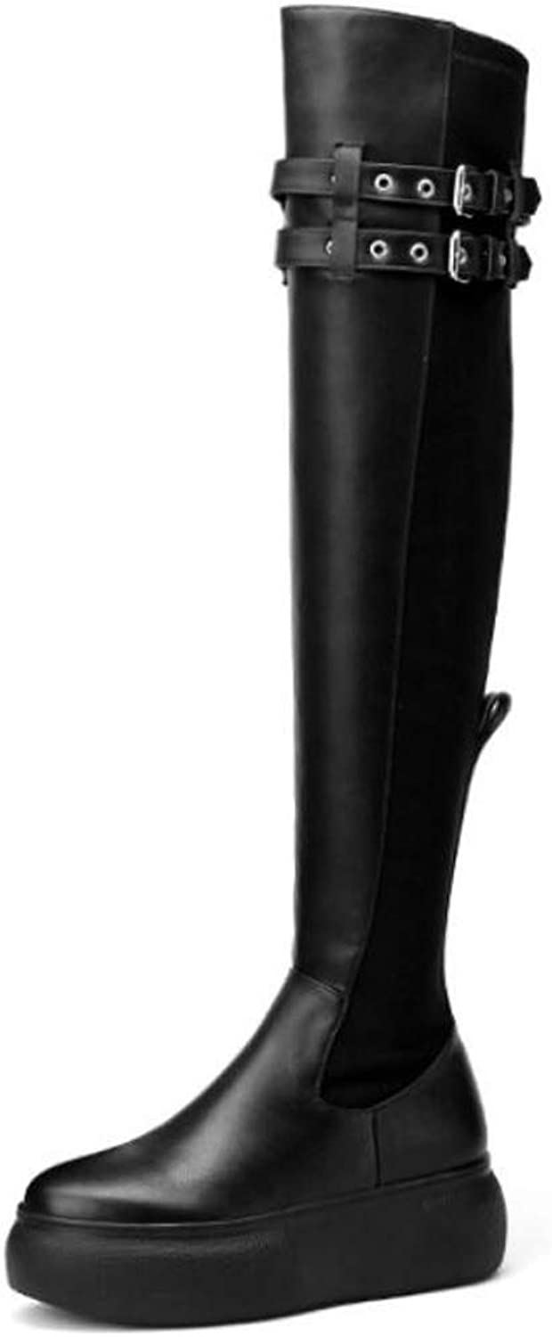 Womens Knee High Boots Leather Flat Long Boots Ladies Low Heel Zip Buckle Winter shoes Fashion Dress Party (Plus Velvet)