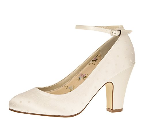 Rainbow Club Brautschuhe Polly - Pumps Riemchen Ivory - Blockabsatz - Gr 36 EU 3 UK