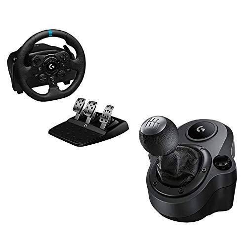 Logitech G G923 Volante y Pedales de Carrera, TRUEFORCE, Embrague Dual, para PS5, PS4 y PC y Palanca de Cambio para Volante, 6 Velocidades, Marcha Atrás a Presion, Acero y Cuero auténtico