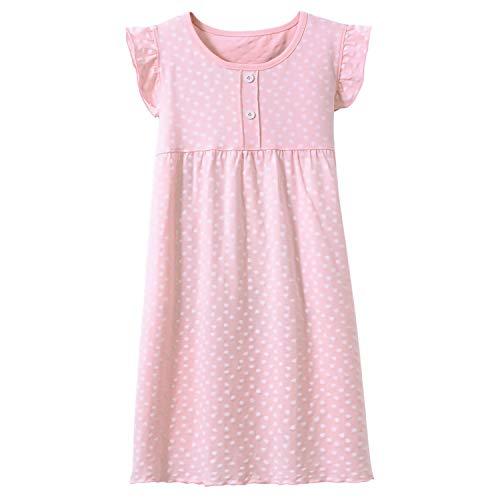 Allmeingeld Kleine Mädchen Prinzessin Nachthemden Herzdruck Schlafhemden Jersey Nachthemd Rosa 5t
