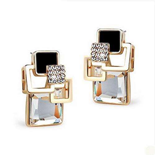 Damen Ohrringe Hypoallergen OhrhäNger AnhäNger Ohrringe Geschenke Vintage Quadratische Kristall Geometrische Ohrringe Mode Feiner Schmuck Weiß