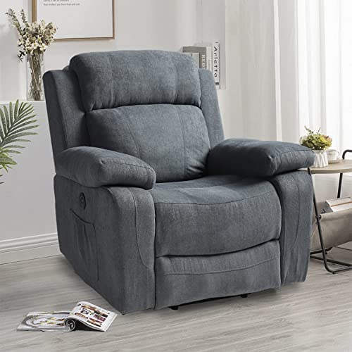 IPKIG Power Recliner Chair with Massage and Heat, Electric Wingback Recliner for Elderly with Lumbar Pillow, USB Charge Port, Side Pockets and Cup Holders, Linen (Not Lift Chair) (Blue Grey)