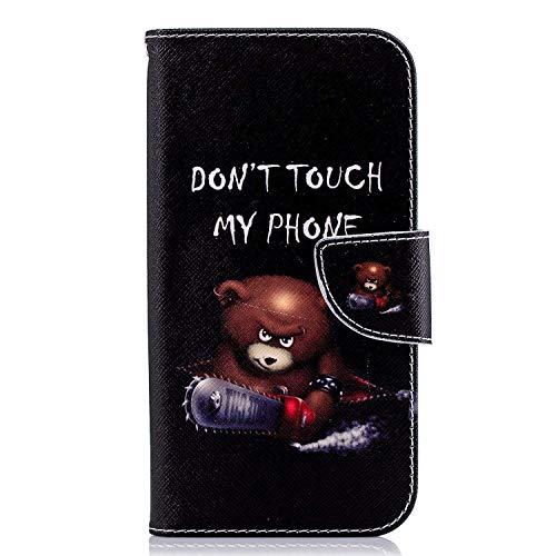 Uposao Handyhülle für Huawei P20 Handytasche Bookstyle Klappbar Flip Case Tasche Brieftasche Lederhülle Leder Handy Schutzhülle Wallet Cover mit Magnetverschluss,Niedlich Bär