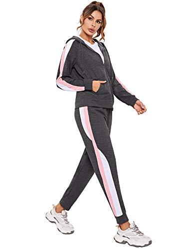 Hawiton Conjunto de Chándal para Mujer de Algodón Invierno, Conjunto de Sudadera Mujer Larga con Chaqueta y Pantalon para Fitness Jogger Tenis Tallas Grandes 2 Piezas, Gris Oscuro, XL