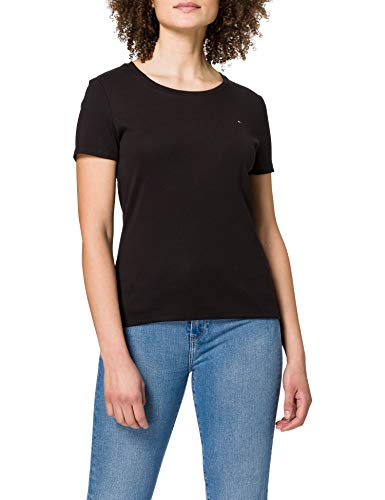 Tommy Hilfiger Slim Round-nk Top SS Camiseta sin Mangas para bebés y niños pequeños para Mujer