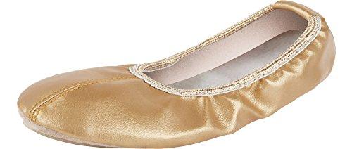 Ladeheid Zapatillas de Ballet Clásico Danza y Gimnasia Mujer Niña LAAK003 (Oro, 23 EU)