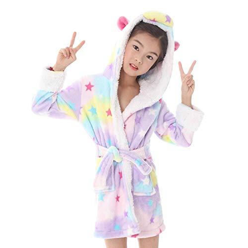 XZYC Kinder Bademantel Baby Bademäntel Für Mädchen Pyjama Kinder Kapuze Regenbogen...
