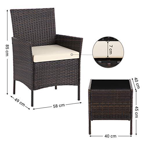 SONGMICS Gartenmöbel-Set aus Polyrattan, Lounge-Set, in Rattanoptik, Terrassenmöbel, Balkonmöbel, für Terrasse, Garten, Balkon, braun-beige GGF001K02 - 4