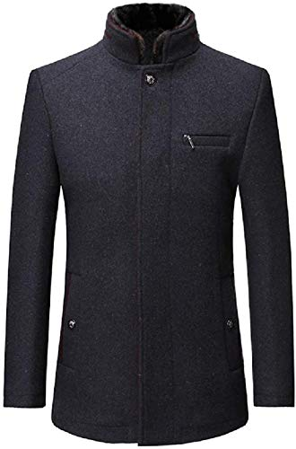 Men Slim Stand Collar Thicken Business Wool Blend Long Trench Coat