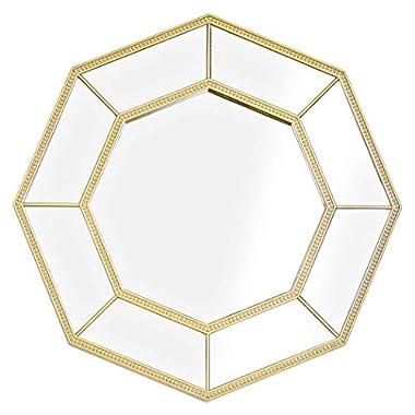 Crystal Art Decorative Framed Octagon Vanity Wall Mirror - Gold